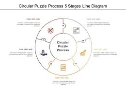 Circular Puzzle Process 5 Stages Line Diagram