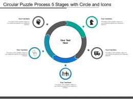 Circular Puzzle Process 5 Stages With Circle And Icons