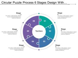 Circular Puzzle Process 6 Stages Design With Numbers