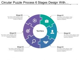 Circular Puzzle Process 6 Stages Design With Symbols