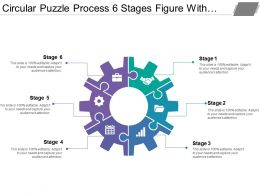 Circular Puzzle Process 6 Stages Figure With Gears