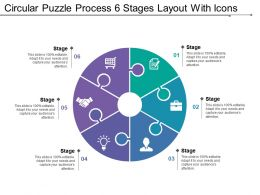 Circular Puzzle Process 6 Stages Layout With Icons