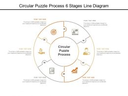 Circular Puzzle Process 6 Stages Line Diagram