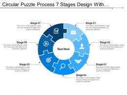 Circular Puzzle Process 7 Stages Design With Symbols
