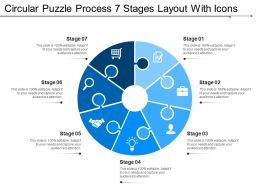Circular Puzzle Process 7 Stages Layout With Icons