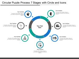 Circular Puzzle Process 7 Stages With Circle And Icons