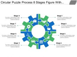 Circular Puzzle Process 8 Stages Figure With Gears