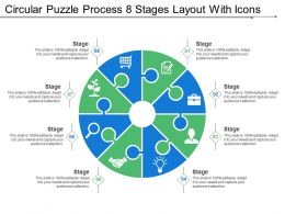 Circular Puzzle Process 8 Stages Layout With Icons