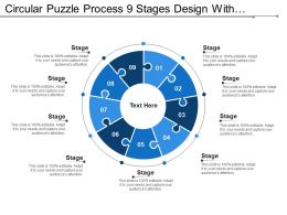 Circular Puzzle Process 9 Stages Design With Numbers