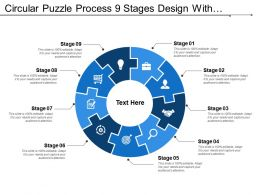 Circular Puzzle Process 9 Stages Design With Symbols