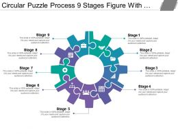 Circular Puzzle Process 9 Stages Figure With Gears