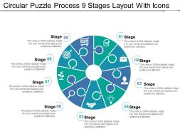 Circular Puzzle Process 9 Stages Layout With Icons