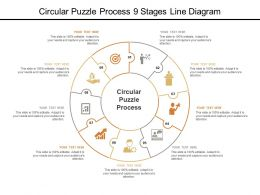 Circular Puzzle Process 9 Stages Line Diagram