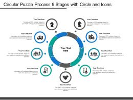 Circular Puzzle Process 9 Stages With Circle And Icons