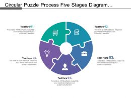 Circular Puzzle Process Five Stages Diagram With Text