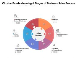 Circular Puzzle Showing 6 Stages Of Business Sales Process