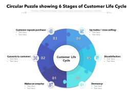 Circular Puzzle Showing 6 Stages Of Customer Life Cycle