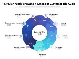 Circular Puzzle Showing 9 Stages Of Customer Life Cycle