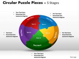 Circular Puzzle templates Pieces 5 Stages colorful 9
