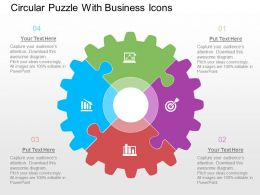 Circular Puzzle With Busines Icons Flat Powerpoint Design