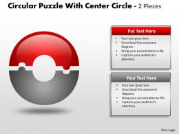 Circular Puzzle With Center Circle 2 and 3 Pieces ppt 10
