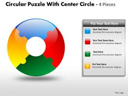 Circular Puzzle With Center Circle 4 Pieces