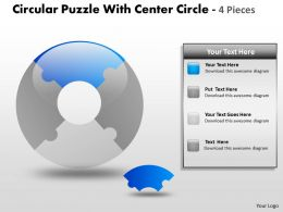 Circular Puzzle With Center Circle 4 Pieces ppt 2