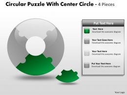 Circular Puzzle With Center Circle 4 Pieces ppt 4
