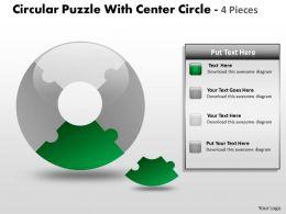 Circular Puzzle With Center Circle 4 Pieces ppt 4