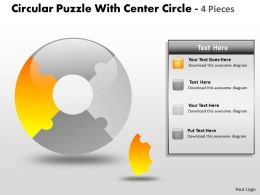 Circular Puzzle With Center Circle 4 Pieces ppt 5