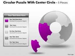 Circular Puzzle With Center Circle 5 Pieces ppt 5