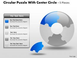 Circular Puzzle With Center Circle 5 Pieces ppt 6