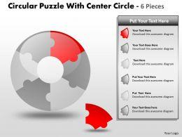 Circular Puzzle With Center Circle 6 Pieces PPT 2