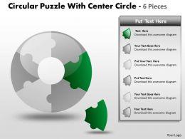 Circular Puzzle With Center Circle 6 Pieces PPT 3