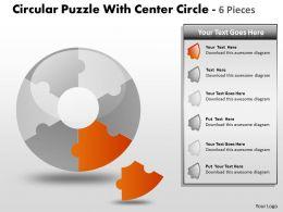 Circular Puzzle With Center Circle 6 Pieces PPT 4