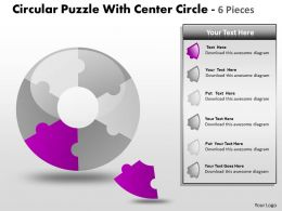 Circular Puzzle With Center Circle 6 Pieces PPT 5