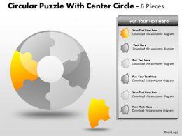 Circular Puzzle With Center Circle 6 Pieces PPT 6