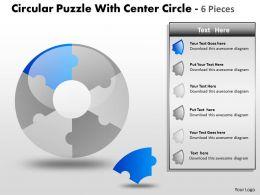 Circular Puzzle With Center Circle 6 Pieces PPT 7