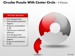 Circular Puzzle With Center diagram and 3 Pieces ppt 13