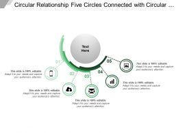 Circular Relationship Five Circles Connected With Circular Bars