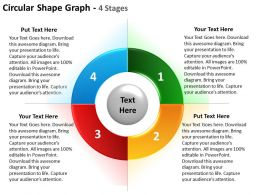 circular shape graph 4 stages using for strategy and timeline listing powerpoint templates 0712