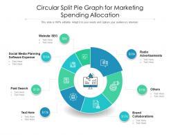 Circular Split Pie Graph For Marketing Spending Allocation