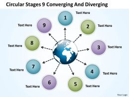 circular stages 9 converging and diverging Cycle Process PowerPoint Slides