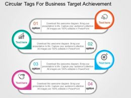 Circular Tags For Business Target Achievement Flat Powerpoint Design