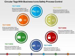 Circular Tags With Business Icons Safety Process Control Flat Powerpoint Design