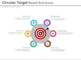 Circular Target Board And Icons For Business Target Analysis Powerpoint Slides