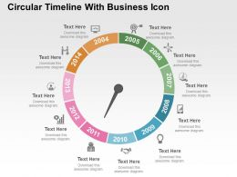 Circular Timeline With Business Icon Flat Powerpoint Design