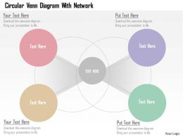 Circular Venn Diagram With Network Flat Powerpoint Design