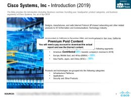 Cisco Systems Inc Introduction 2019