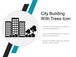 City Building With Trees Icon